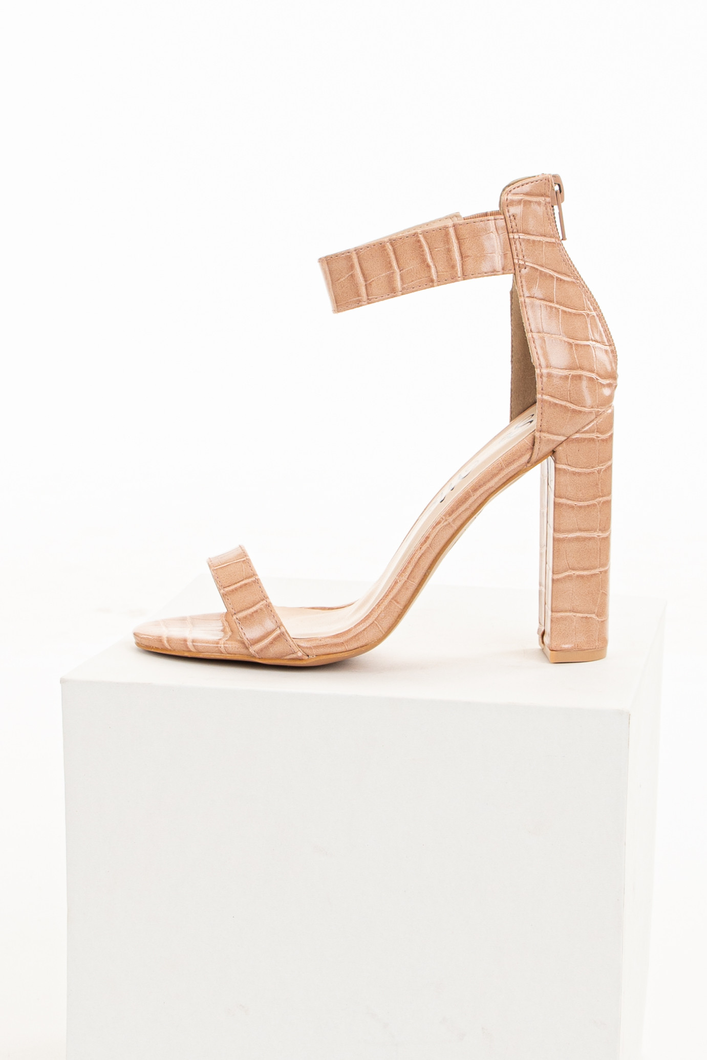 Peach Textured Chunky Heel with Rounded Open Toe