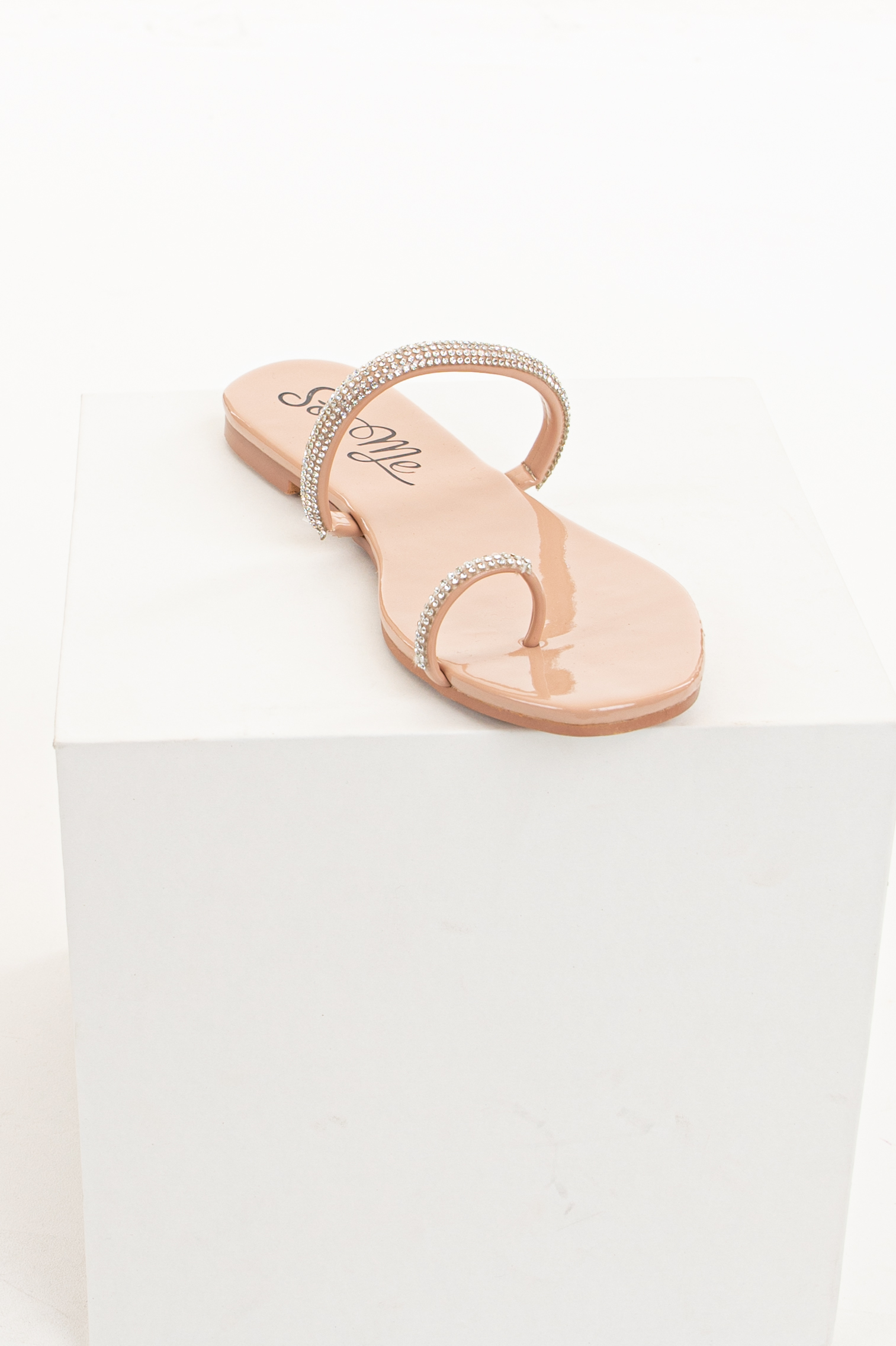Blush Dual Strap Slip On Sandals with Rhinestone Details