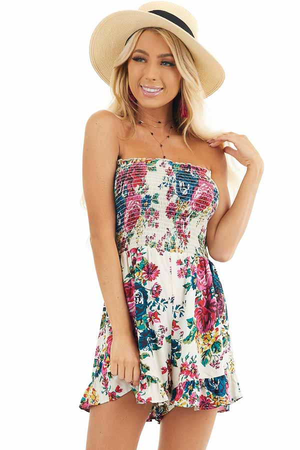 White Multicolor Floral Strapless Romper with Ruffle Trim front close up