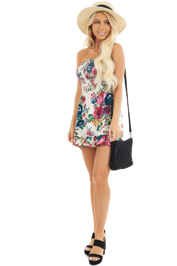 White Multicolor Floral Strapless Romper with Ruffle Trim front full body
