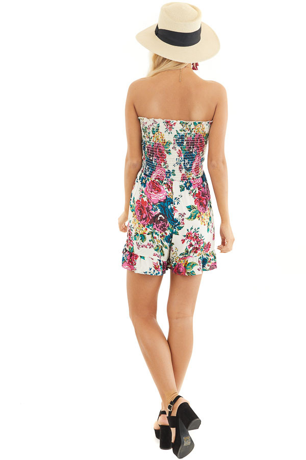 White Multicolor Floral Strapless Romper with Ruffle Trim back full body