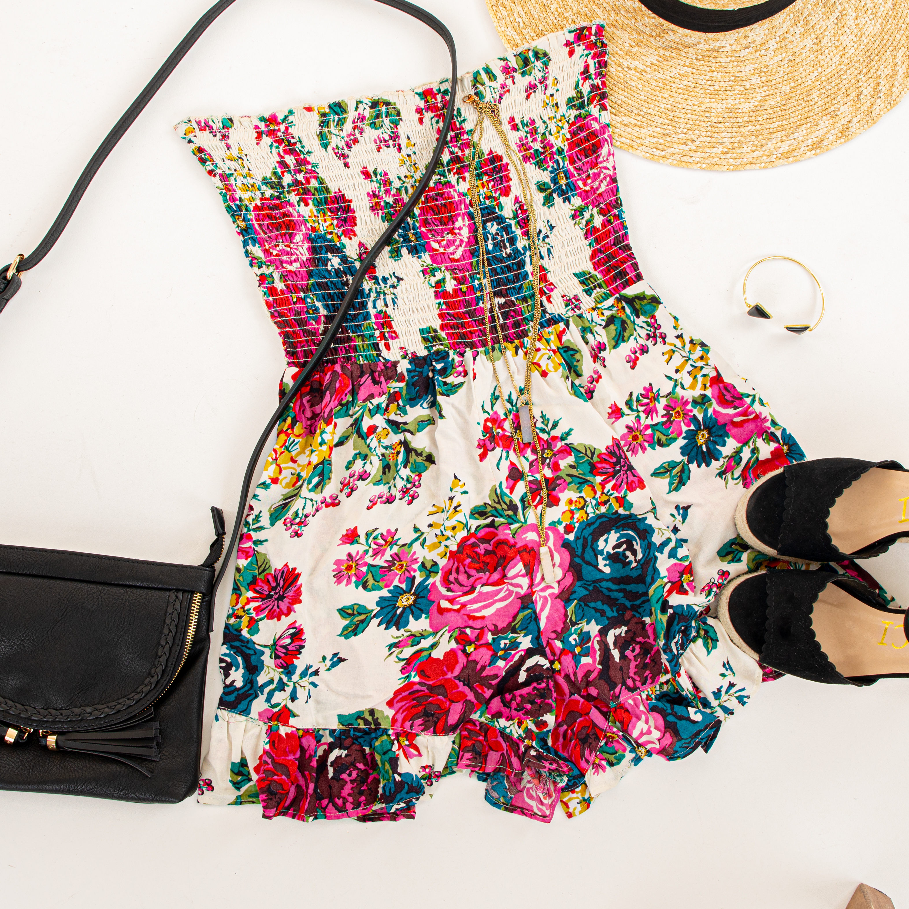 White Multicolor Floral Strapless Romper with Ruffle Trim