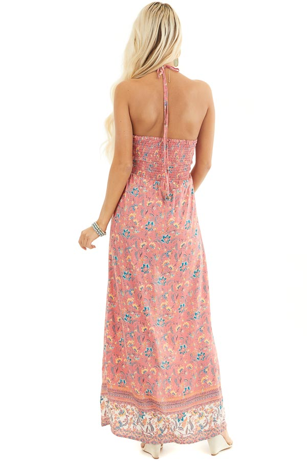 Coral Floral Print Smocked Halter Romper with Maxi Overlay back full body