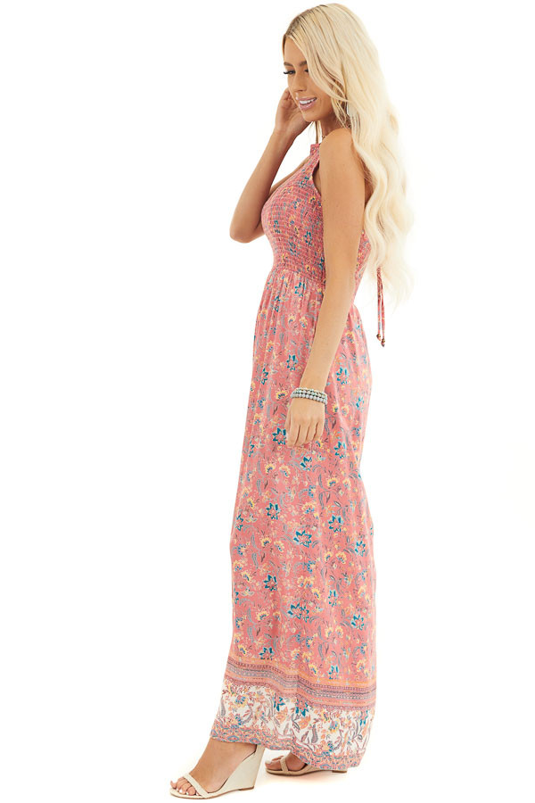 Coral Floral Print Smocked Halter Romper with Maxi Overlay side full body