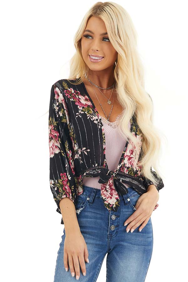 Black Floral Cropped Kimono Top with Front Tie Detail front close up