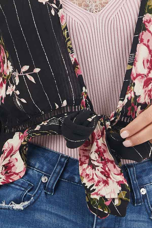 Black Floral Cropped Kimono Top with Front Tie Detail detail