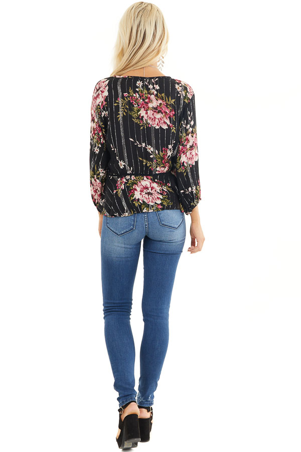 Black Floral Cropped Kimono Top with Front Tie Detail back full body