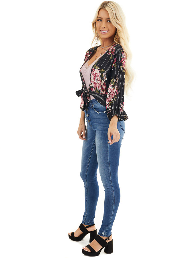 Black Floral Cropped Kimono Top with Front Tie Detail side full body