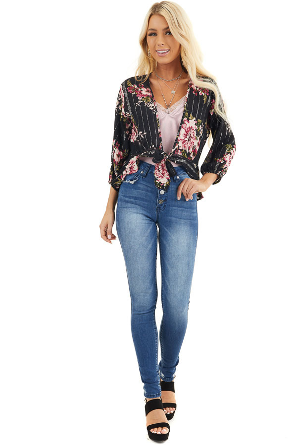 Black Floral Cropped Kimono Top with Front Tie Detail front full body