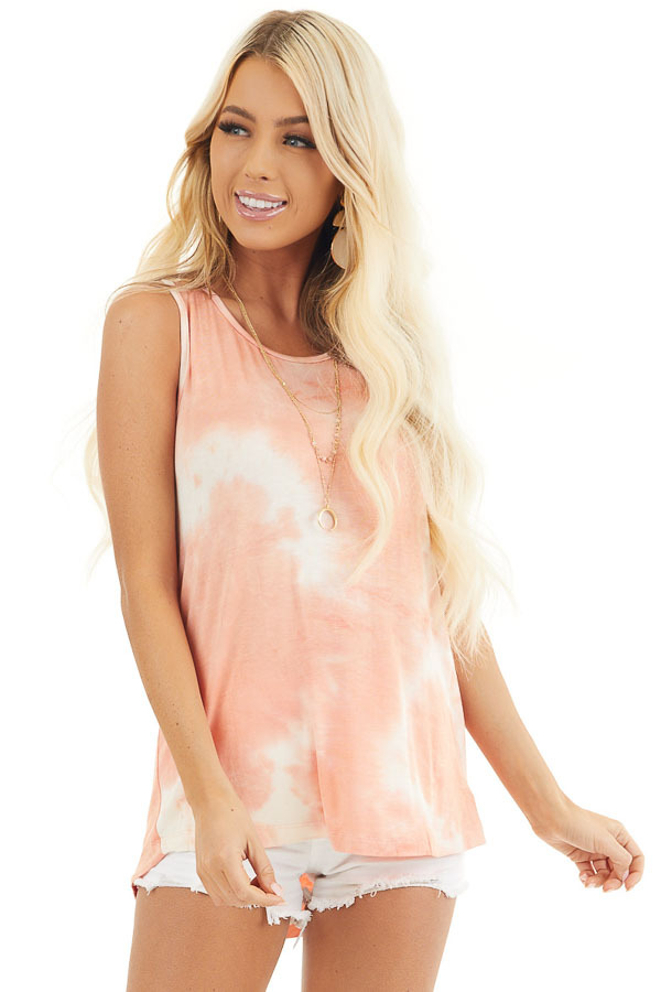 Peach and Ivory Tie Dye Tank Top with Rounded Neckline front close up