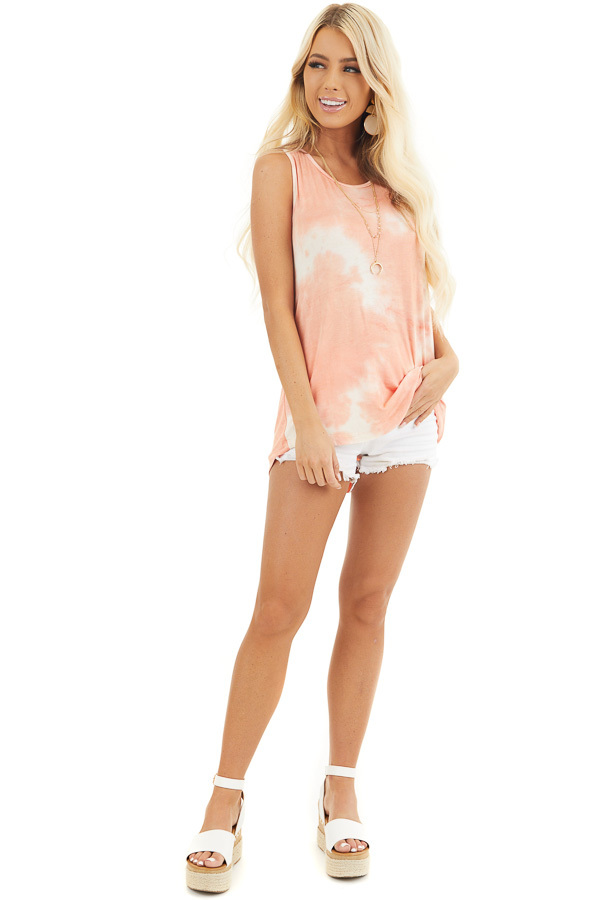 Peach and Ivory Tie Dye Tank Top with Rounded Neckline front full body