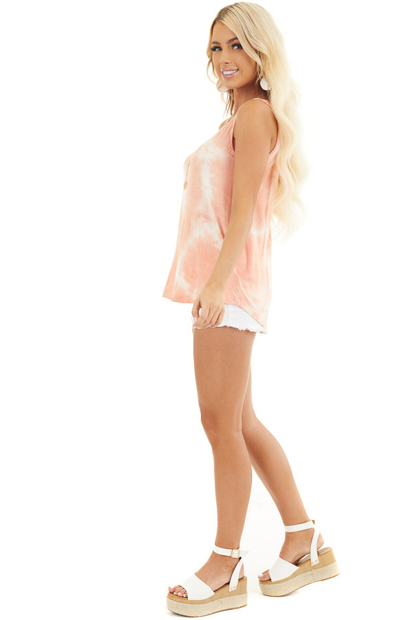 Peach and Ivory Tie Dye Tank Top with Rounded Neckline side full body