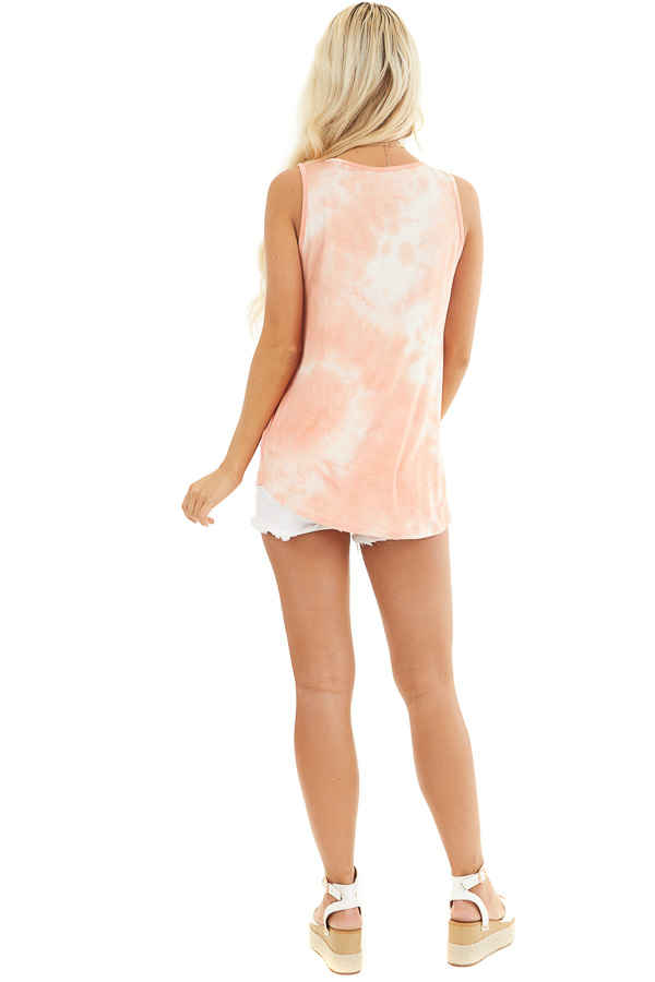 Peach and Ivory Tie Dye Tank Top with Rounded Neckline back full body