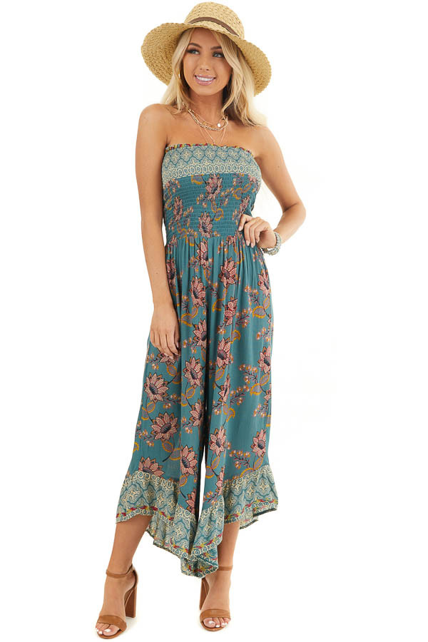 Dark Teal Floral Print Strapless Smocked Jumpsuit front full body
