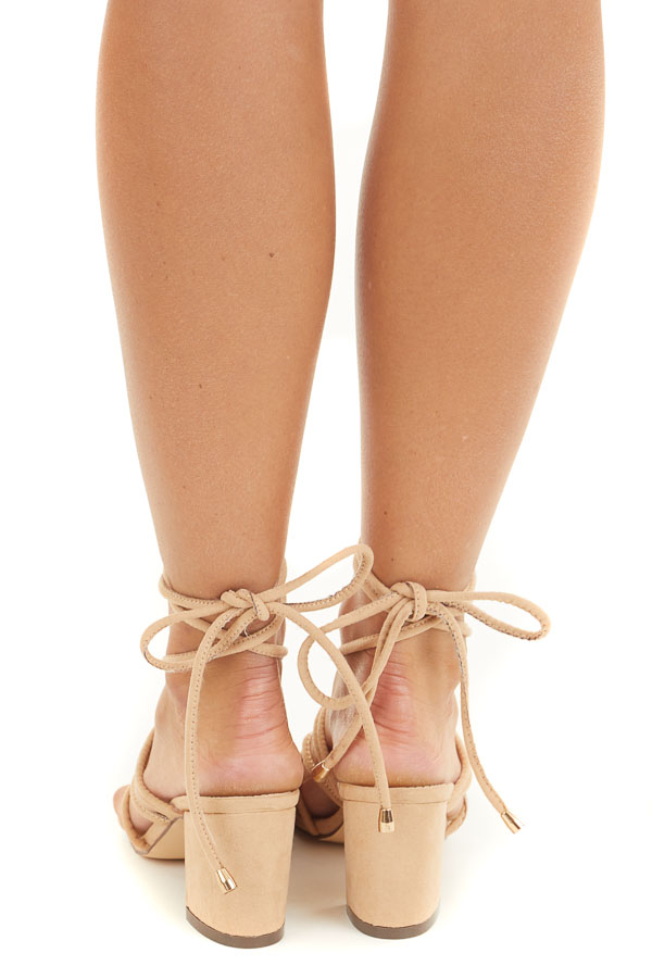 Nude Chunky Heeled Strappy Sandals with Ankle Tie Detail