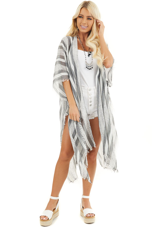 Charcoal and Ivory Striped Kimono with Fringe Detail front full body