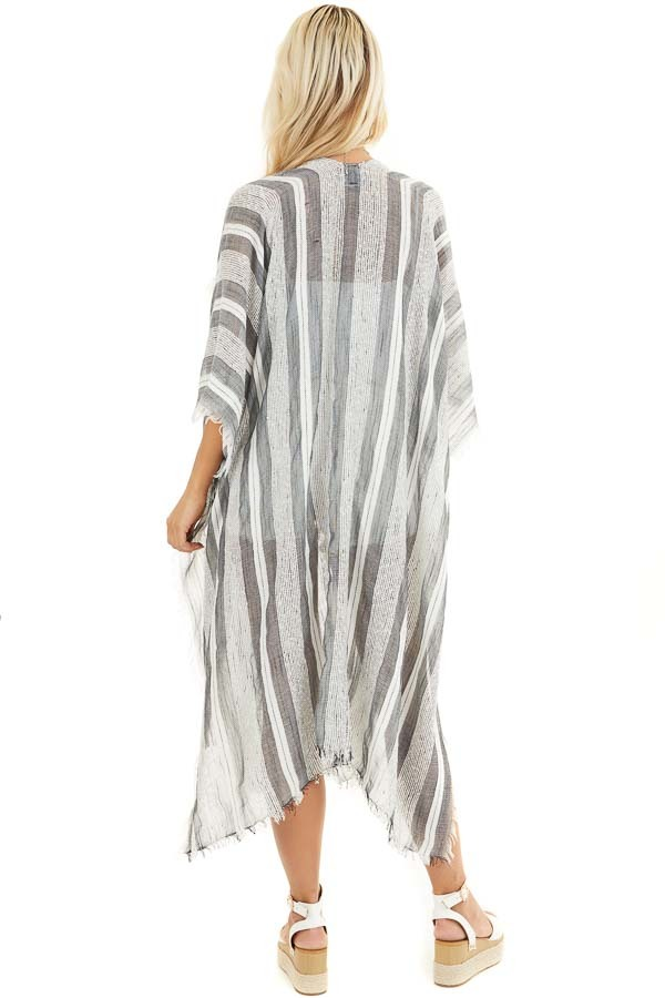 Charcoal and Ivory Striped Kimono with Fringe Detail back full body