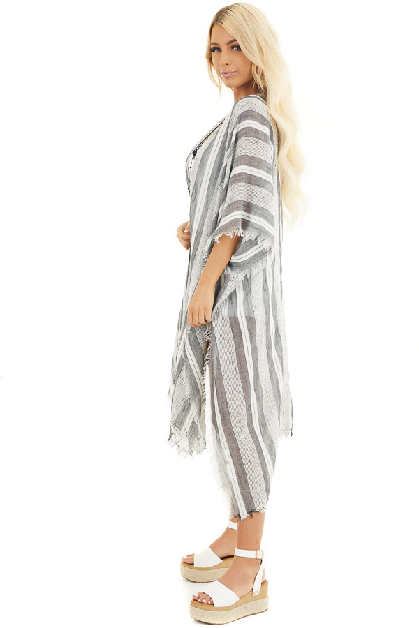 Charcoal and Ivory Striped Kimono with Fringe Detail side full body
