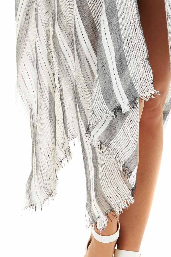 Charcoal and Ivory Striped Kimono with Fringe Detail detail