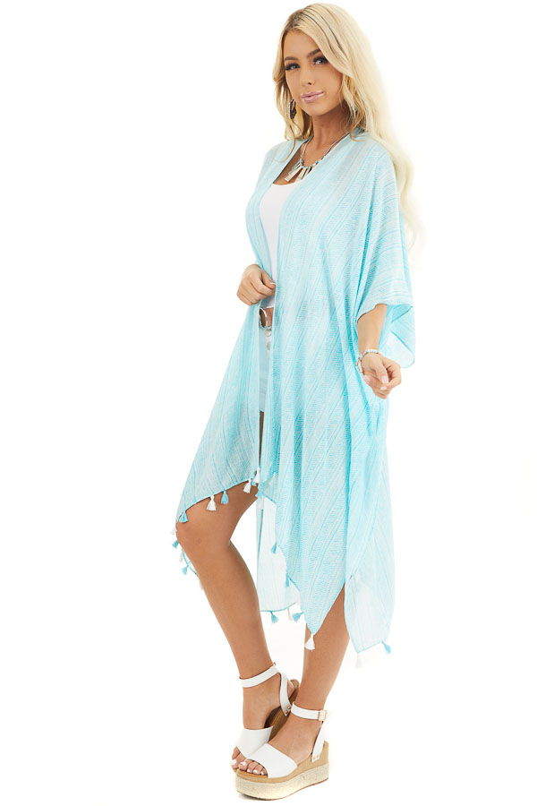 Aqua Printed Kimono with Short Dolman Sleeves and Tassels front full body