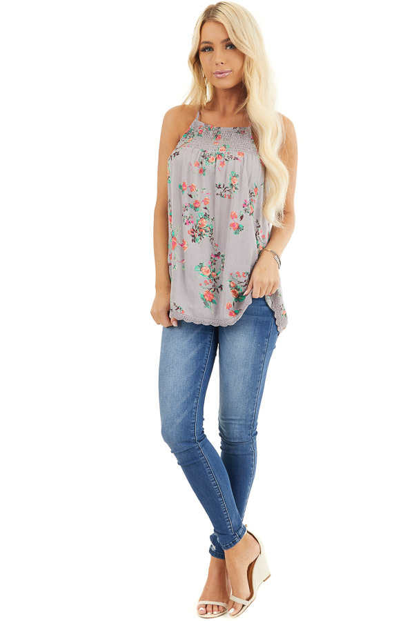 Slate Grey Floral Print Tank Top with Smocked Detail front full body