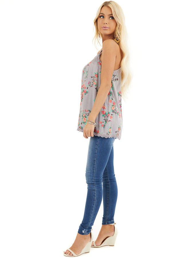 Slate Grey Floral Print Tank Top with Smocked Detail side full body