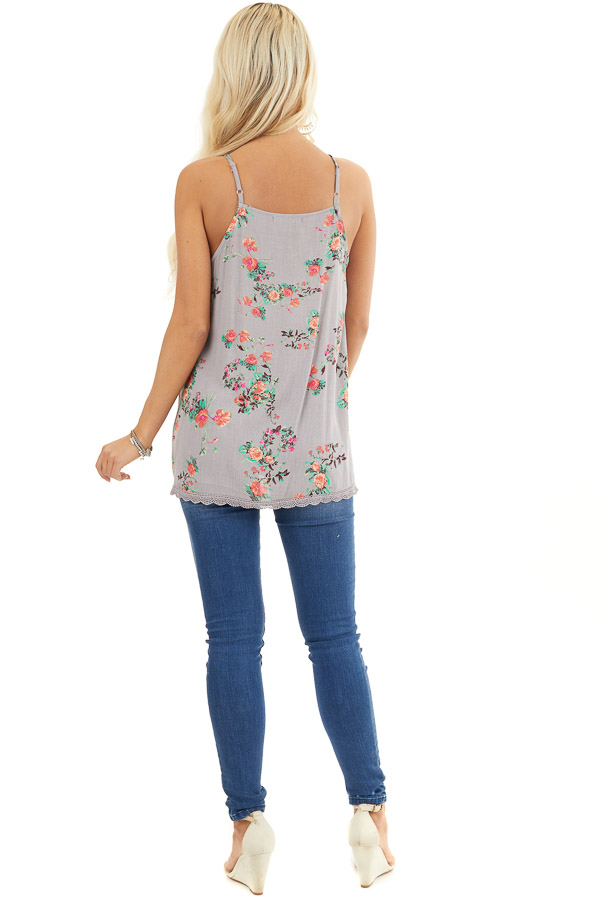 Slate Grey Floral Print Tank Top with Smocked Detail back full body