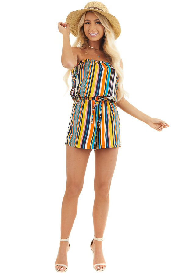 Orange Multicolor Striped Strapless Romper with Tie Detail front full body