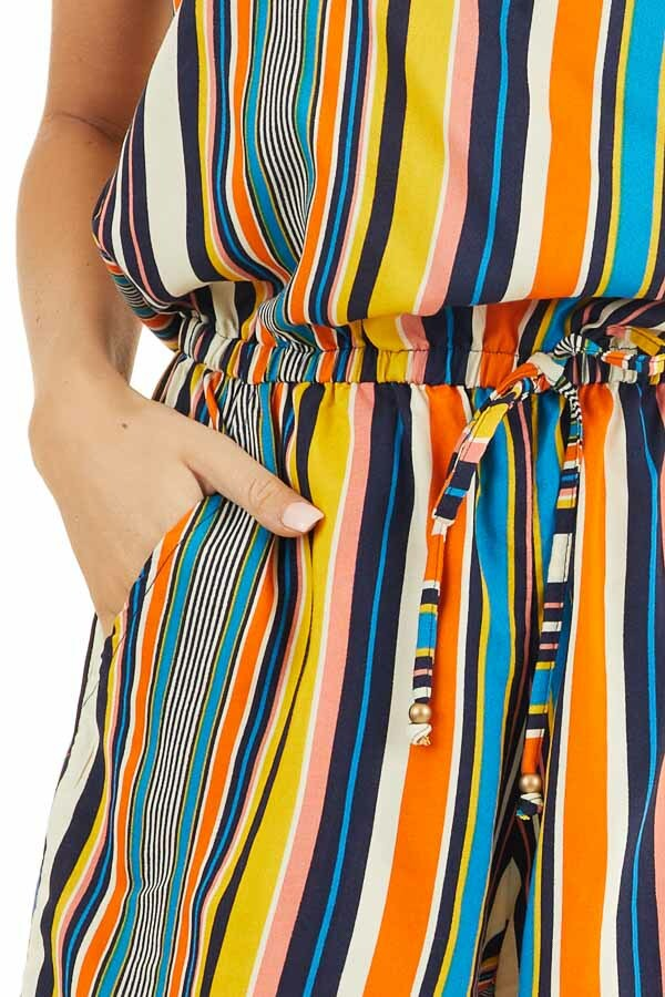 Orange Multicolor Striped Strapless Romper with Tie Detail detail