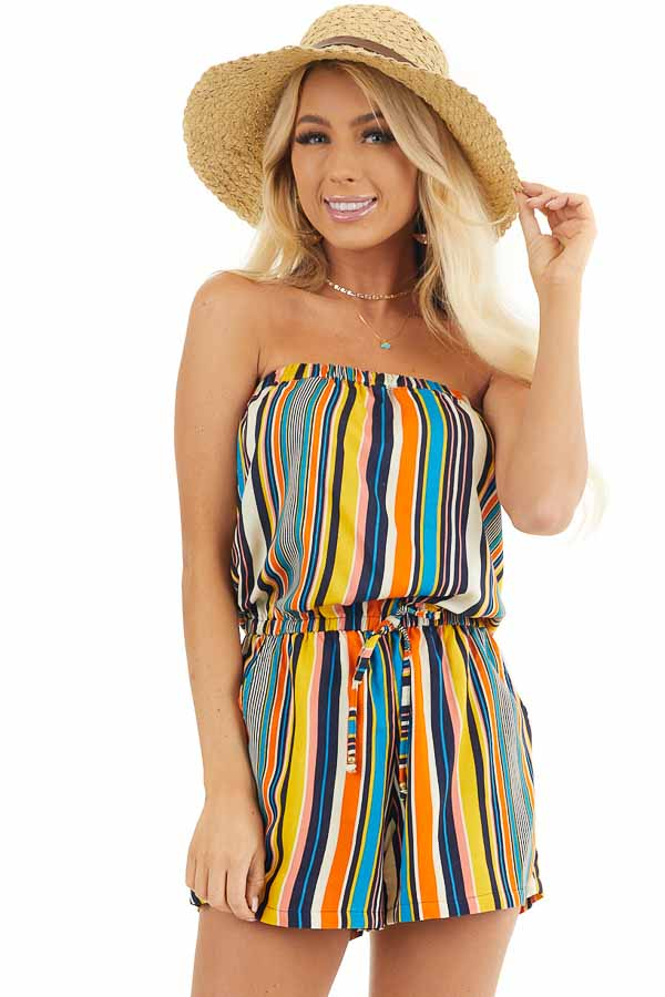 Orange Multicolor Striped Strapless Romper with Tie Detail front close up