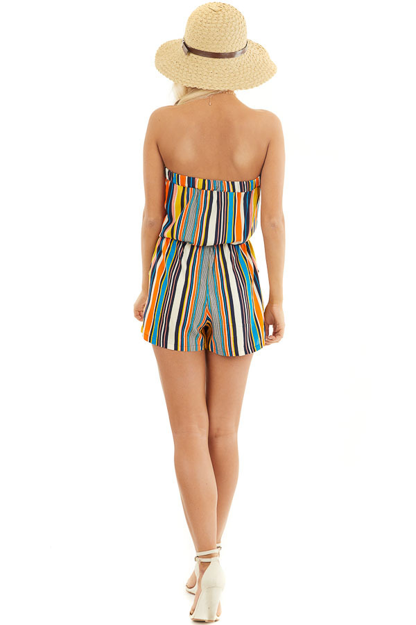 Orange Multicolor Striped Strapless Romper with Tie Detail back full body