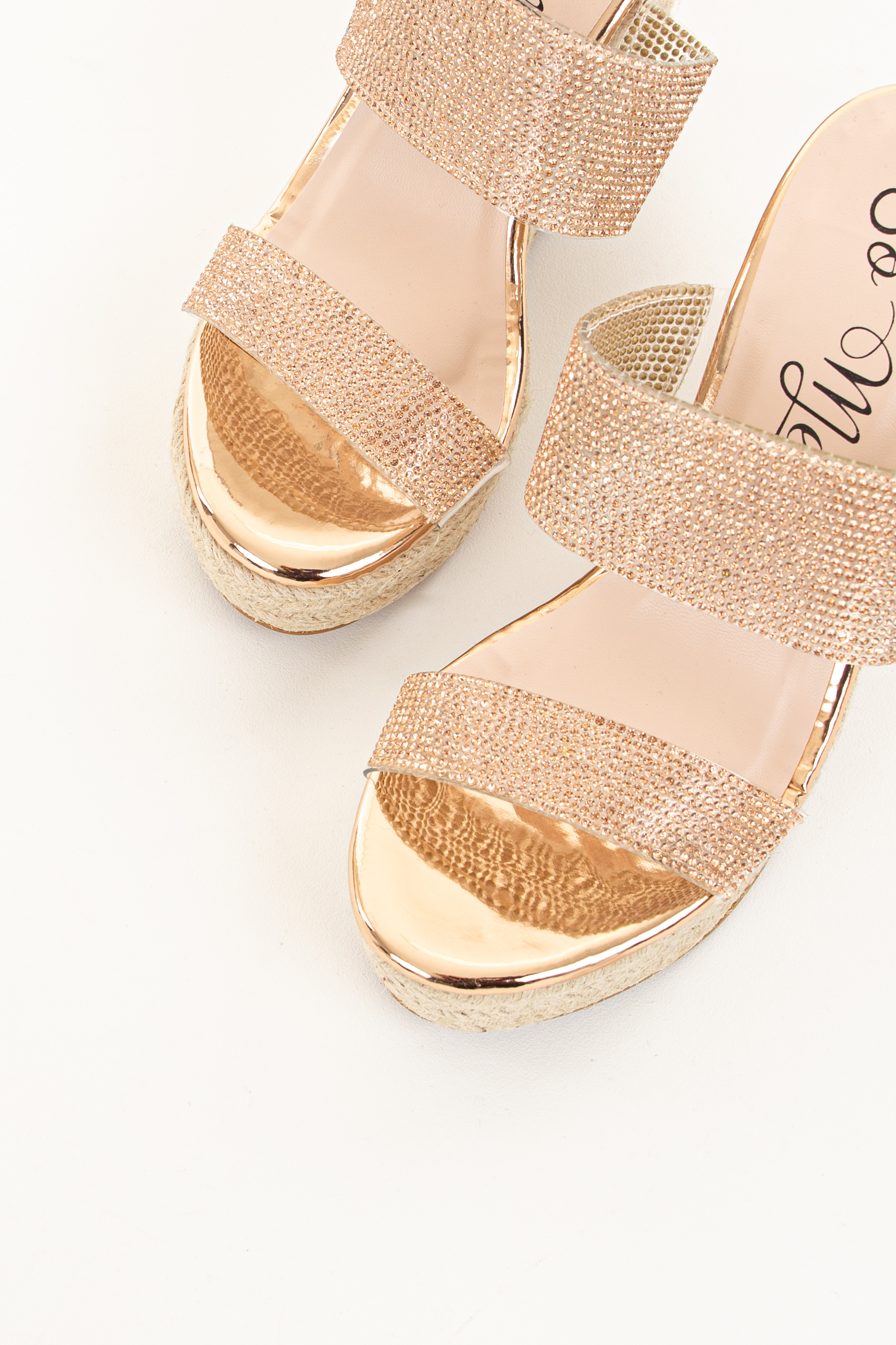 Rose Gold Espadrille Wedge Sandals with Rhinestone Details