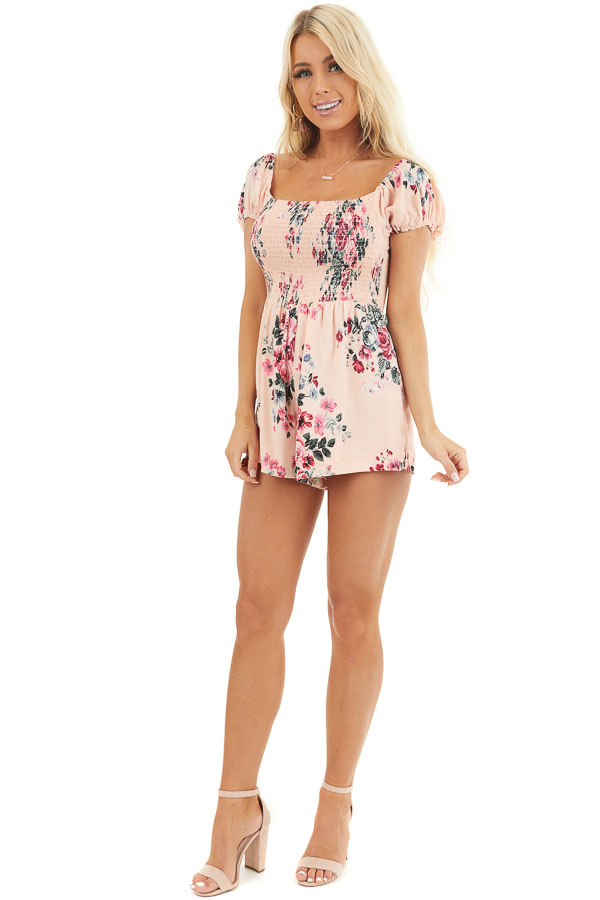 Blush Pink Floral Print Short Sleeve Smocked Romper front full body