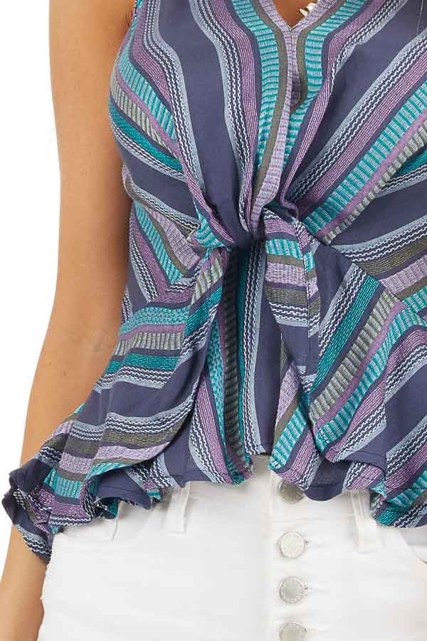 Blue and Purple Striped Tank Top with Front Twist Detail detail