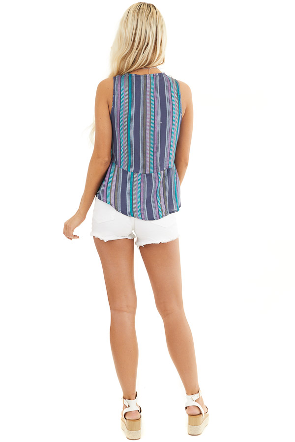 Blue and Purple Striped Tank Top with Front Twist Detail back full body