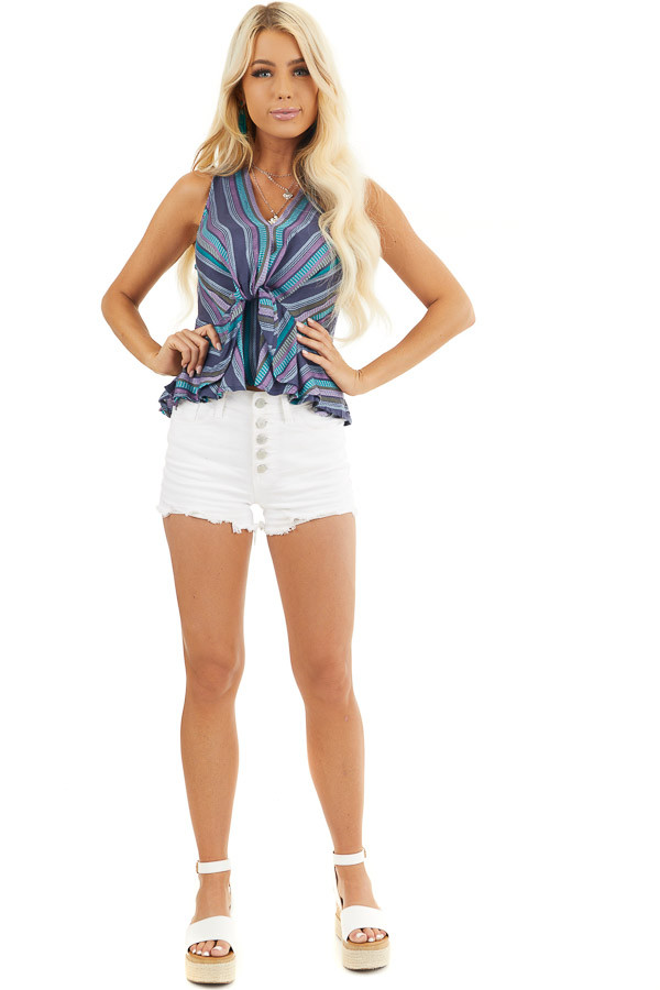 Blue and Purple Striped Tank Top with Front Twist Detail front full body