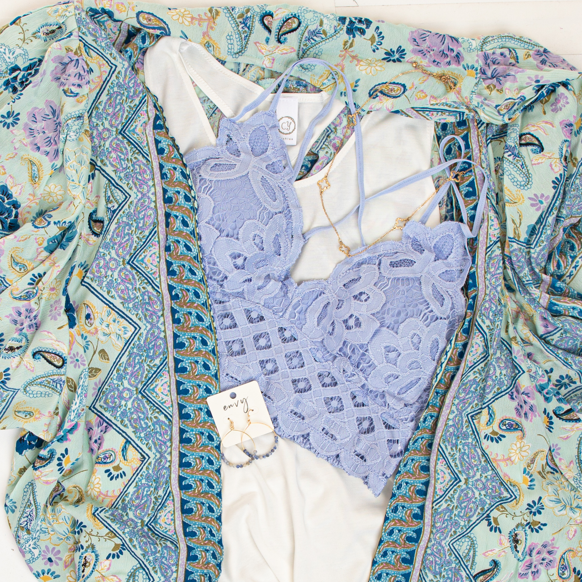 Seafoam Multicolor Printed Duster Kimono with Short Sleeves