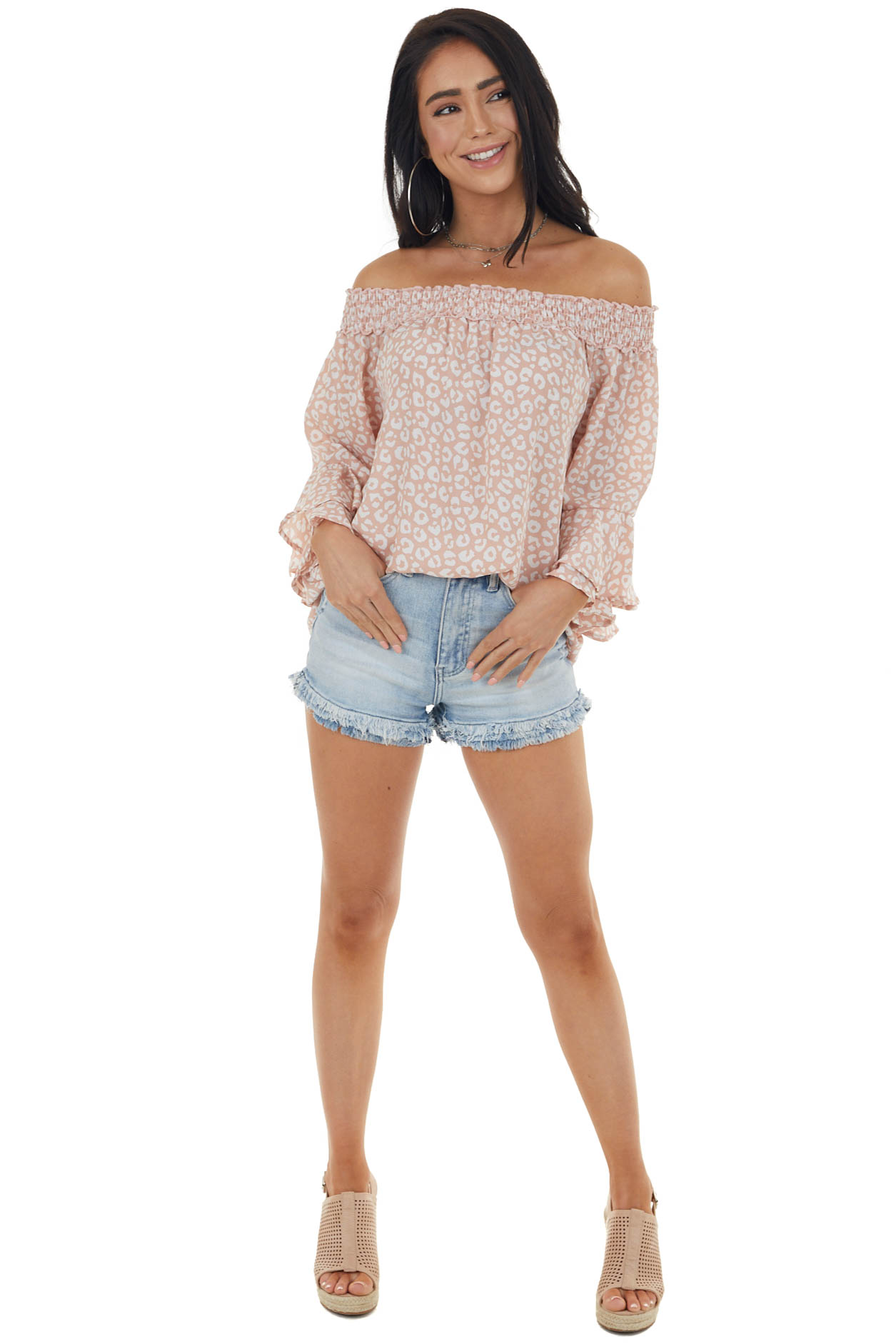 Dusty Blush and Ivory Leopard Print Off the Shoulder Blouse