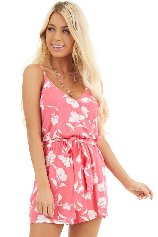 Hot Pink and White Floral Print Surplice Romper with Tie front close up
