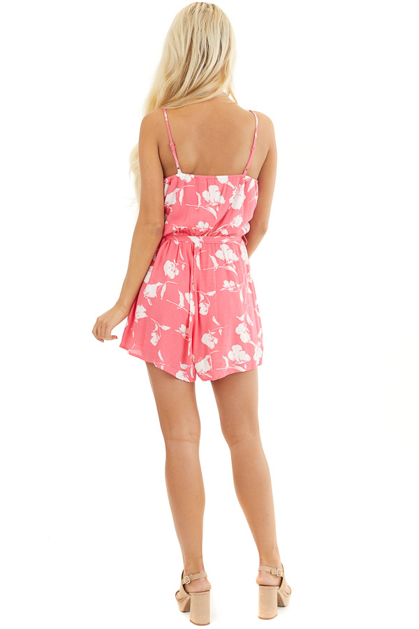 Hot Pink and White Floral Print Surplice Romper with Tie back full body