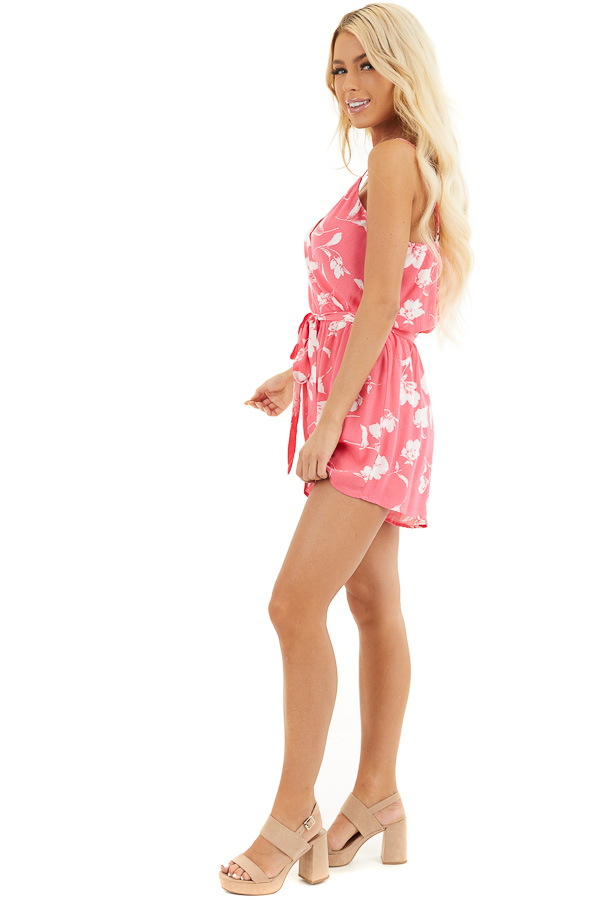 Hot Pink and White Floral Print Surplice Romper with Tie side full body