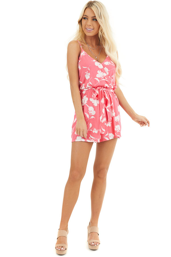 Hot Pink and White Floral Print Surplice Romper with Tie front full body