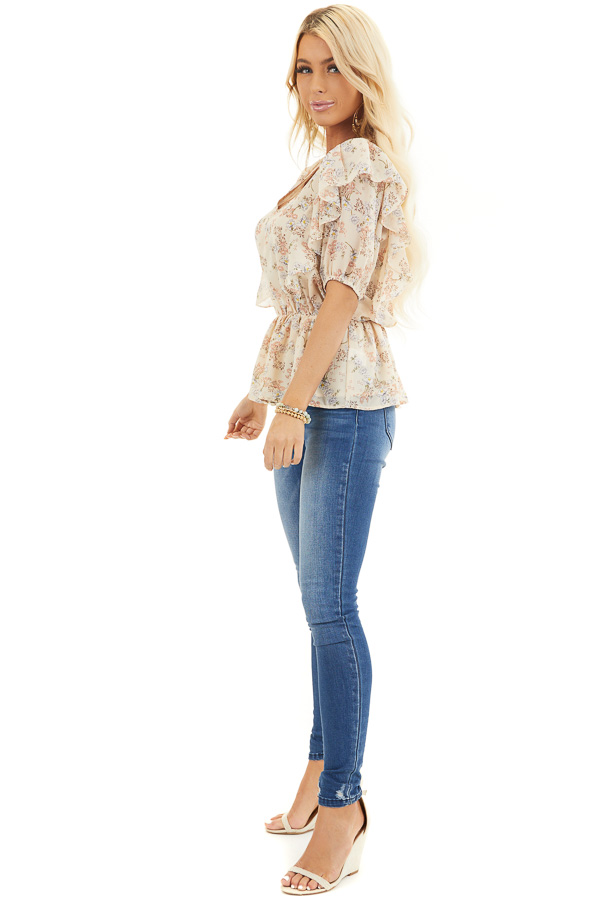 Champagne Floral Print Peplum Blouse with Ruffle Details side full body