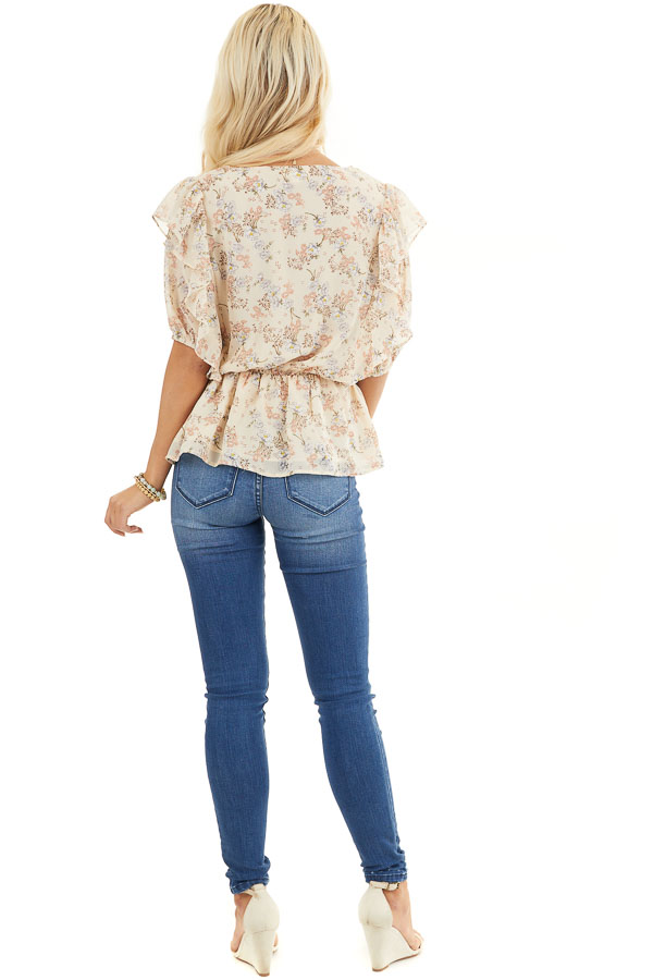 Champagne Floral Print Peplum Blouse with Ruffle Details back full body