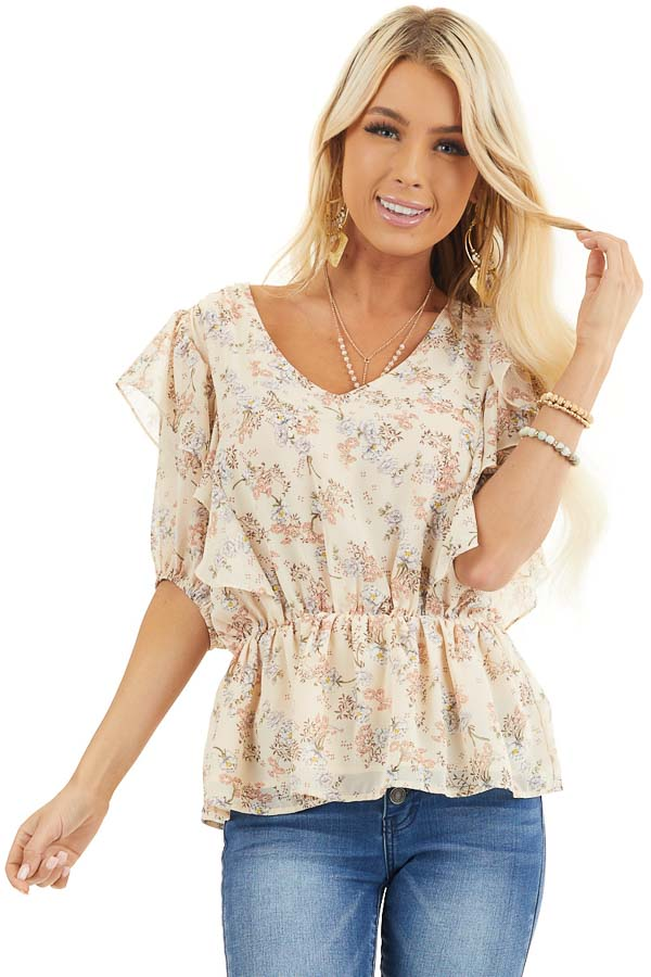Champagne Floral Print Peplum Blouse with Ruffle Details front close up