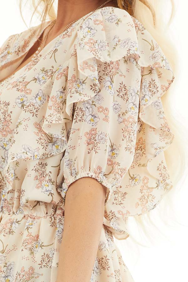 Champagne Floral Print Peplum Blouse with Ruffle Details detail