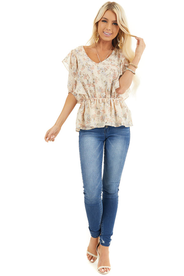 Champagne Floral Print Peplum Blouse with Ruffle Details front full body