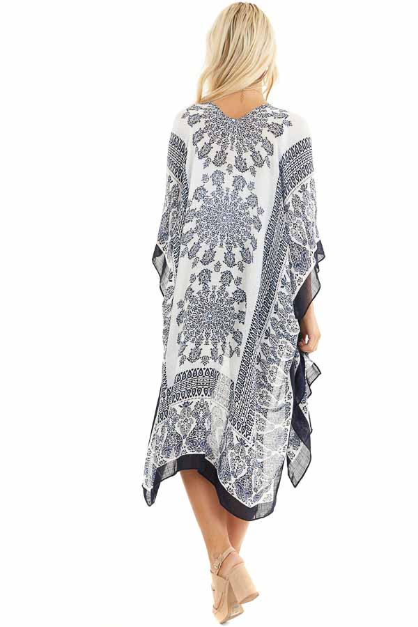 White and Baby Blue Paisley Print Short Sleeve Kimono side full body