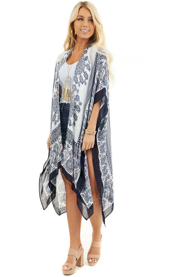 White and Baby Blue Paisley Print Short Sleeve Kimono front full body