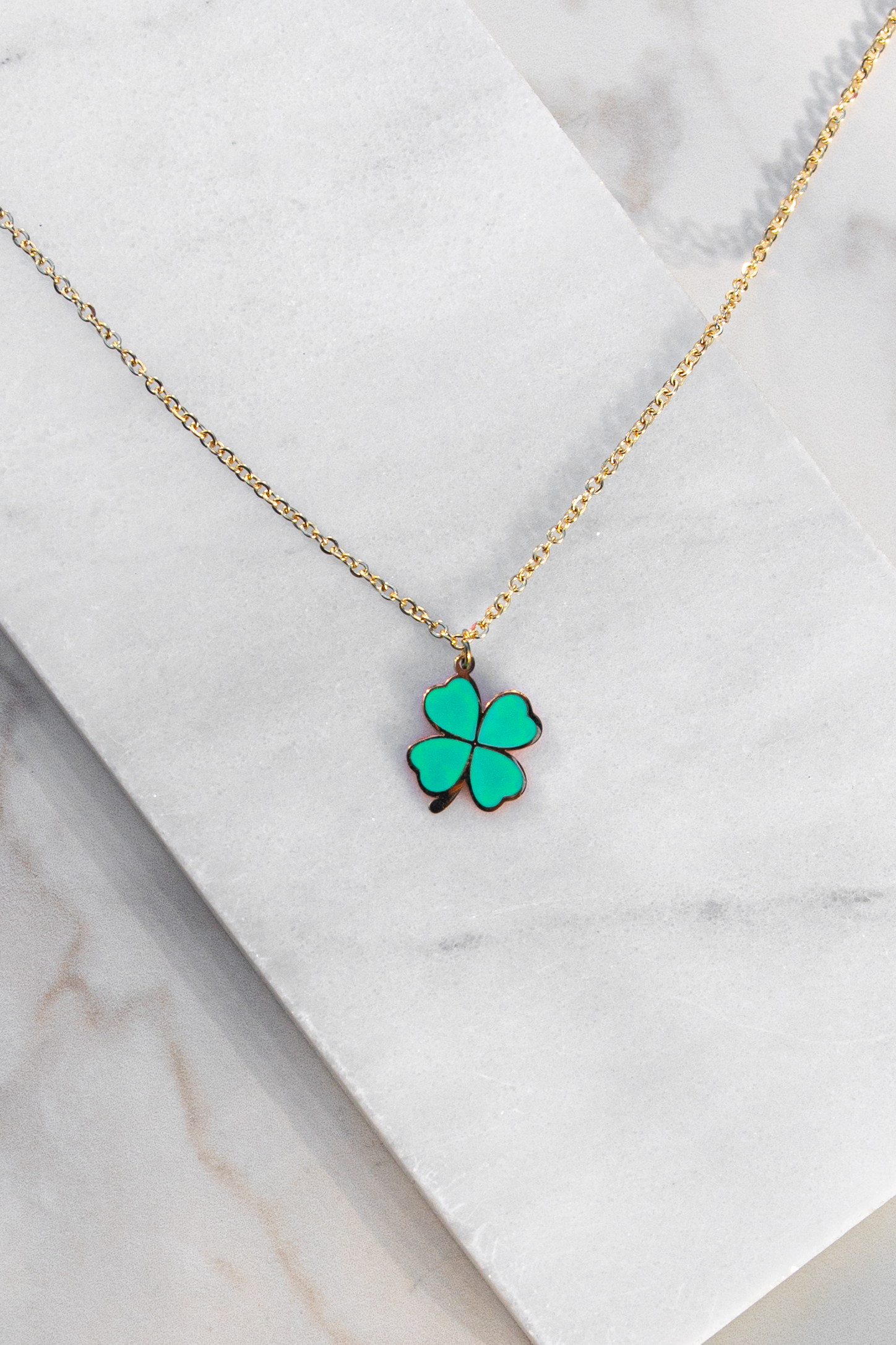 Gold Chain Necklace with Kelly Green Shamrock Pendant